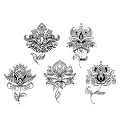 Outline paisley flowers and floral elements vector lotus tattoo henna template - by Seamartini on VectorStock®