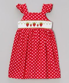 Look what I found on #zulily! Shine by Castles & Crowns Red Polka Dot Berry Angel-Sleeve Dress - Infant, Toddler & Girls by Shine by Castles & Crowns #zulilyfinds