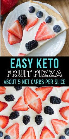 You can enjoy a summer favorite even on Keto! This Keto Fruit Pizza is high in flavor and low in carbs. Perfect for all of your summer cookouts! About 5 net carbs per slice and SO delicious!   #keto Easy No Bake Desserts, Köstliche Desserts, Delicious Desserts, Dessert Recipes, Birthday Desserts, Dinner Recipes, Curry Recipes, Beef Recipes, Low Carb Recipes
