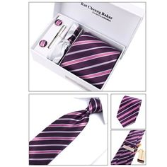 Piggy2gether  Mens Polyester Ties Set with Beautiful Gift Box 1 Tie  1 Cufflinks  1 Tie Clip1 Hankie * Check this awesome product by going to the link at the image.(This is an Amazon affiliate link and I receive a commission for the sales)