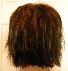 Shaggy Bob, Medium Brown with Warm Copper Streaks