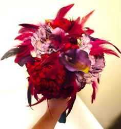 Lovely red and purple bridesmaids bouquet. My MOH used this as inspiration for the gorgeous bridesmaids bouquets. THESE COLORS! PLEASE i like the red flower and purple Red Wedding Flowers, Rose Wedding, Farm Wedding, Red Flowers, Wedding Bells, Wedding Events, Wedding Stuff, Weddings, Purple Bridesmaid Bouquets