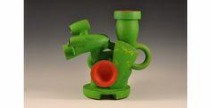 "Doug Herren, Green Ewer (alternate view), Stoneware with bronze glaze, enamel paint, 19"" x 19"" x 11"", 2012"
