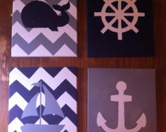 Chevron Anchor Canvas by PaintMeABluebird on Etsy