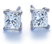 Princess-Cut Diamond Earrings in Platinum