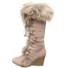 BEARPAW Women's Anja Fur Boot ❤ liked on Polyvore featuring shoes, boots, front lace up boots, bearpaw boots, laced boots, lace up shoes and lace up boots