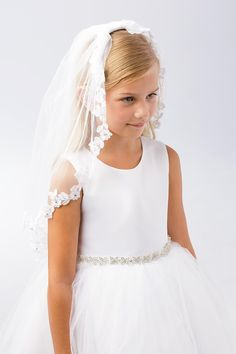 6a35a864772 Tip Top Kids 695 White Floral Lace Edging Single Layer Veil