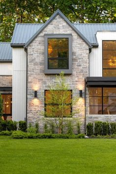 A modern farm house with brick exterior. Custom Home Builders, Custom Homes, Casa Retro, Dream House Exterior, Stone On House Exterior, House Exteriors, Stone Home Exteriors, Home Exterior Design, Stone Front House