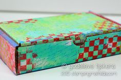 StampingMathilda: Colorful Box --  I turned a small simple white shipping box into a colorful one, using a gelatine plate, stencils, stamps and acrylic paints.
