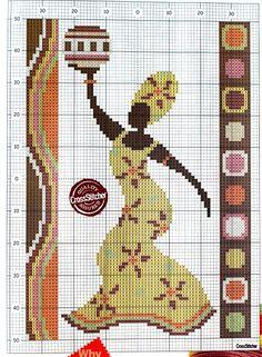 point de croix femme africaine - cross-stitch african woman
