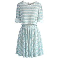 Chicwish Striped Sweetness Mesh Dress ($53) ❤ liked on Polyvore featuring dresses, blue, blue pattern dress, mesh dress, stripe dress, print dresses and mixed print dress