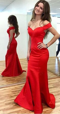 Long red satin Prom Dress, Off the Shoulder Prom Dress mermaid Prom Dress , Evening dress