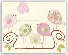 Items similar to Children Bedroom Wall Decor // Nursery Wall Decor // Play Room Wall Decor // Baby Bedroom Love Birds // Colors: Light Green Pink Brown on Etsy Kids Wall Decor, Nursery Wall Decor, Nursery Prints, Nursery Art, Girl Nursery, Baby Decor, Brown Nursery, Room Decor, Baby Bedroom