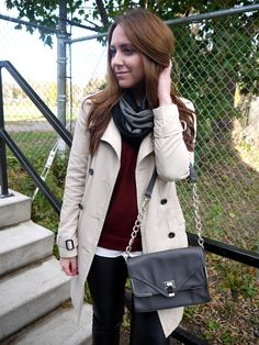 Outfit {Faux Leather + Cozy Black & Grey + Burgundy}