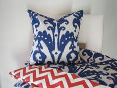 Duvet Cover with Decorative Throw Pillow - IKAT Marrakesh Batik Indigo and Zig Zag Spice Orange - King - Queen or Twin