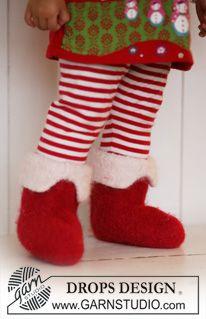 """Strikkede og filtede DROPS juletøfler i """"Eskimo"""". Størrelse 21 til 48. ~ DROPS Design"""