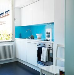 bright blue backsplash
