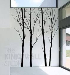 Bare Winter tree Wall Decal living room Nature Forest by KinkyWall, $70.00