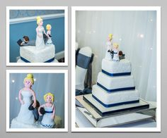 Bride and daughter dragging the groom. Funny 3 tier Wedding cake.