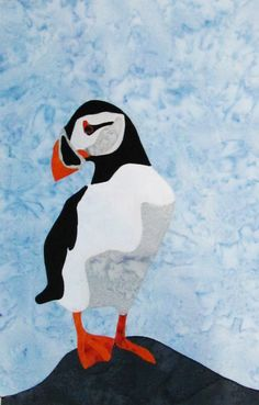 This puffin is from the Newfoundland block of the This Is Canada quilt Sewing Art, Love Sewing, Hand Sewing, Quilt Patterns, Quilting Ideas, Quilting Projects, Stitch Patterns, Canadian Quilts, Nautical Quilt