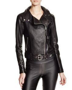 Mackage Hania Perforated Leather Motorcycle Jacket - 100% Bloomingdale's Exclusive