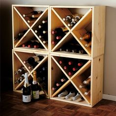 "Organic wooden cube wine rack. 24 bottle capacity. Measures 20""x 20"" x 9"""