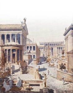 Ancient Rome. Reconstruction of Roman Forum from the 'Casa delle Vestali' // Print by J. Hoffbauer, Paris, 1911