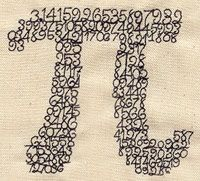 "Embroidery Designs at Urban Threads - Pieces of Pi (#UT3127) 3.85""w x 3.50""h 11 March 2011"