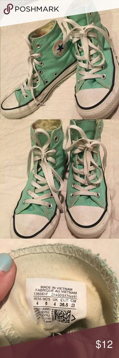 Mint high top converse Unisex mint high top converse! Worn but still in great condition! Converse Shoes Sneakers