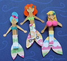 Sirenas hechas de papel y pinzas de tender