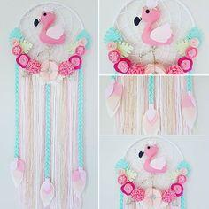 Fancy Flamingo Dream Catcher Pinks, white, mint, green, gold,  #flamingo #flamingodecor #girlsdecor #handmadeisbest #australianhandmade #dreamcatcher #dreamcatchers #feltflowers #tropical #iloveflamingos #flamingoes #flamingoparty #felt #mumsinbusiness #craftymum #handmadeshop