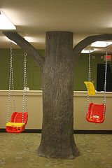We took a pillar in a church's nursery and turned it into a tree with working swings. -fun!