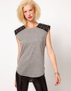 Enlarge ASOS T-Shirt with PU Stud Shoulder