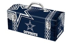 Sturdy stainless steel tool box decorated with NFL team logo and powder coated to prevent rusting