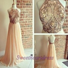 Modest prom dress for teens, backless halter chiffon prom dress