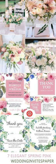 7 Super Elegant Affordable Blush Pink Spring Wedding Invitations From WIP - Wedding Invites Paper