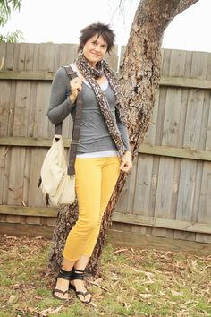 Mustard + grey + leopard print. The perfect combination.