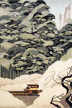 "Morimura Ray - ""Hanakage""  woodblock 11 3/4 x 17 1/2 inch"