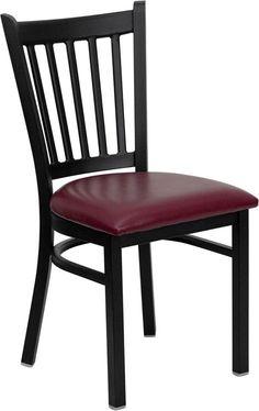 HERCULES Series Black Vertical Back Metal Restaurant Chair with Burgundy Vinyl Seat XU-DG-6Q2B-VRT-BURV-GG by Flash Furniture