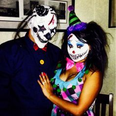 evil clown costume diy   Scary Couples Halloween Costumes