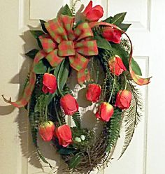 Spring, Summer Grapevine Wreath with Pink Tulips, Bird Nest and Burlap Bow, Mothers Day Gift, Holidays. $69.00, via Etsy.