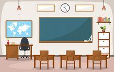 university, educational concept, blackboard and table. Student Desks, School Desks, Modern Classroom, School Classroom, Happy Teachers Day Card, Classroom Background, Classroom Furniture, Room Interior Design, Blackboards