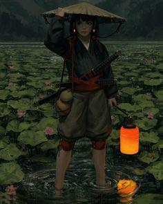 Lantern by GUWEIZ Ninja samurai fighter paladin Character Inspiration, Character Art, Character Design, Fantasy World, Fantasy Art, Pixiv Fantasia, Sci Fi Art, Vampires, Fantasy Characters