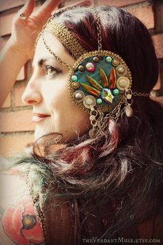 Jewel Beetle Mucha Headdress by the Verdant Muse. Ain't she talented? And beautiful, too.