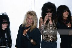 Mick Mars, Vince Neil, Tommy Lee and Nikki Sixx of rock group 'Motley Crue' attend the MTV Video Music Awards on September 6, 1989 in Los Angeles, California.