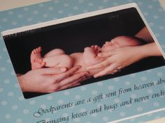 Baptism Gift for Godparents - 4x6 Photo Frame - Can be customized for Godmother / Godfather / Godparents. $55.00, via Etsy.