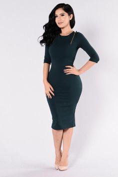 Get It Girl Dress - Hunter Green