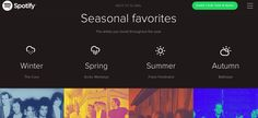 Seasonal Favorites Spotify 2014: Winter: The Cure - Spring: Arctic Monkeys - Summer: Franz Ferdinand - Autumn: Balthazar.