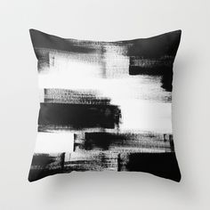 No. 85 Modern abstract black and white painting Throw Pillow by Adriane Duckworth - $20.00