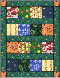 Free Beginner Quilt Patterns - Big Block  This is a cute and easy way to make up a quick quilt. A great idea for using fabrics you just can't cut!